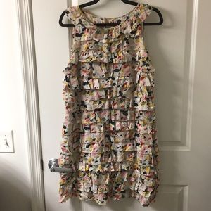 DVF ruffled sleeveless multicolor dress